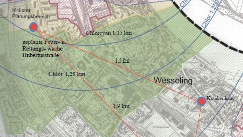 Seveso Karte der Stadt ergänzt mit Standorten